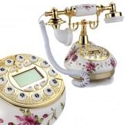 Telefone Vintage Retro Antigo Flores Dourado Decorativo Com Identificador Chamada  Rosa Escuro (888033)
