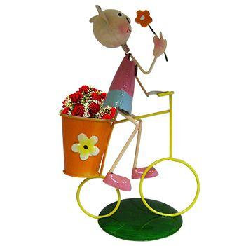 2 Bonecos Joaninha Porquinha com Bicicleta Enfeite e Decoracao Jardim e Flores (BON-M-15)
