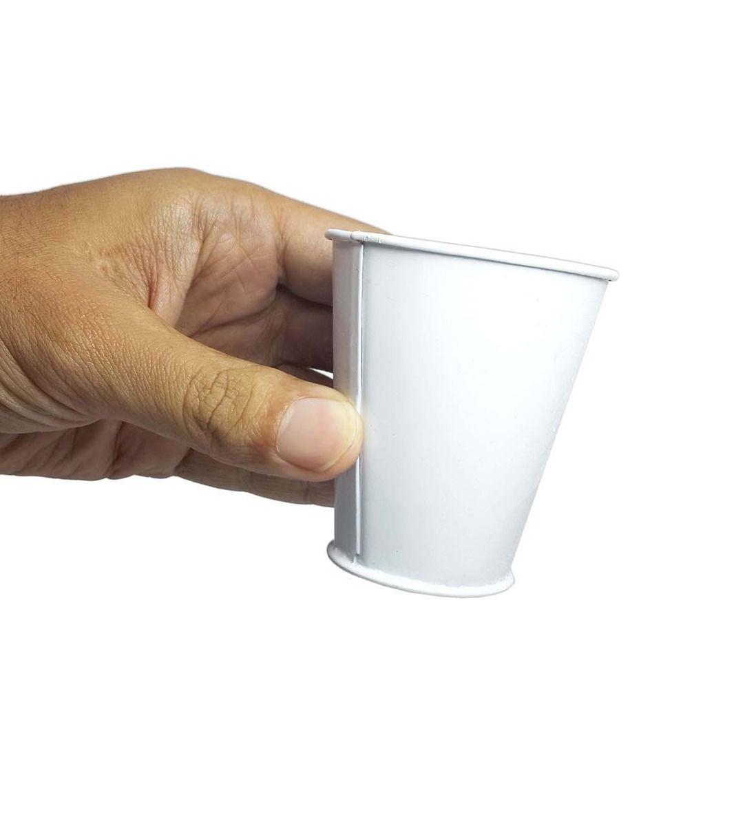 Balde Cachepot de Ferro Pequeno Branco Kit Com 25 (balde-p-b)