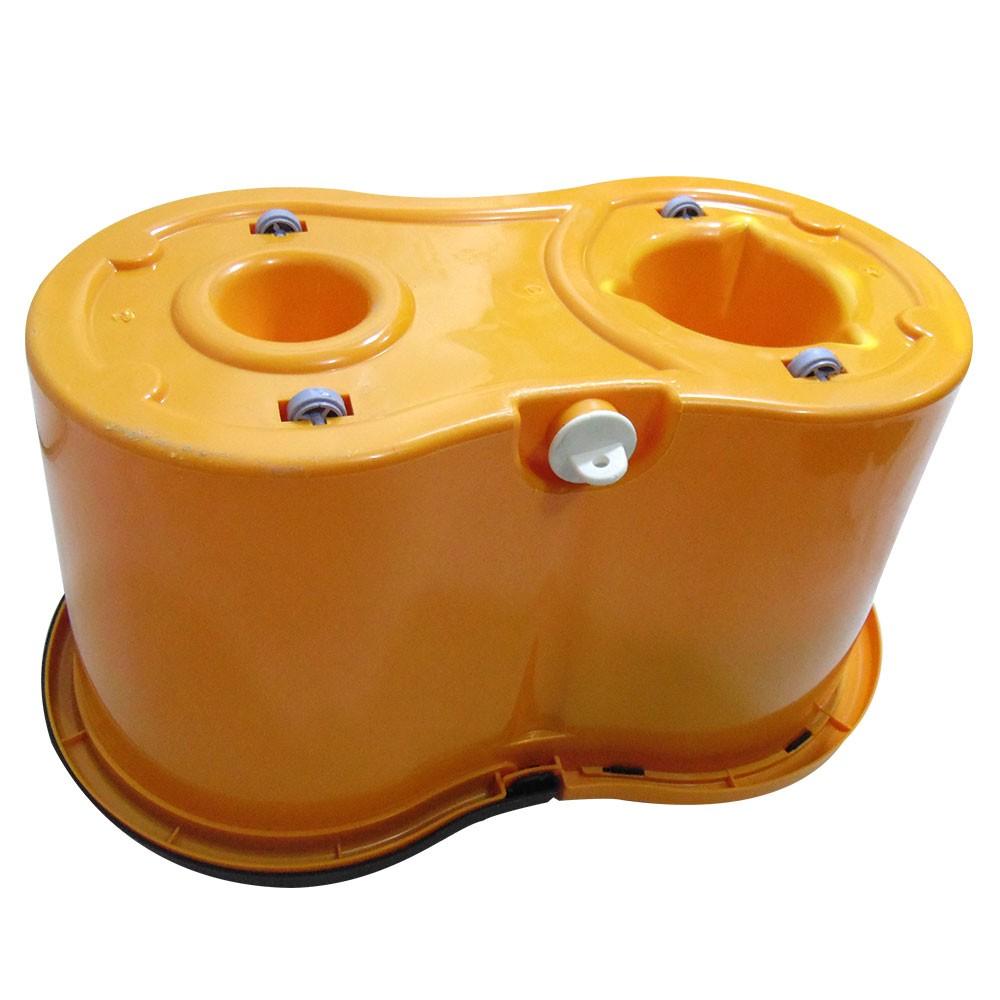 Mop Balde Esfregao Inox Com Rodinhas Centrifuga + 1 Refil E 1 Dispenser Sabao (BSL-MOP-5 / Laranja / clb-03001)