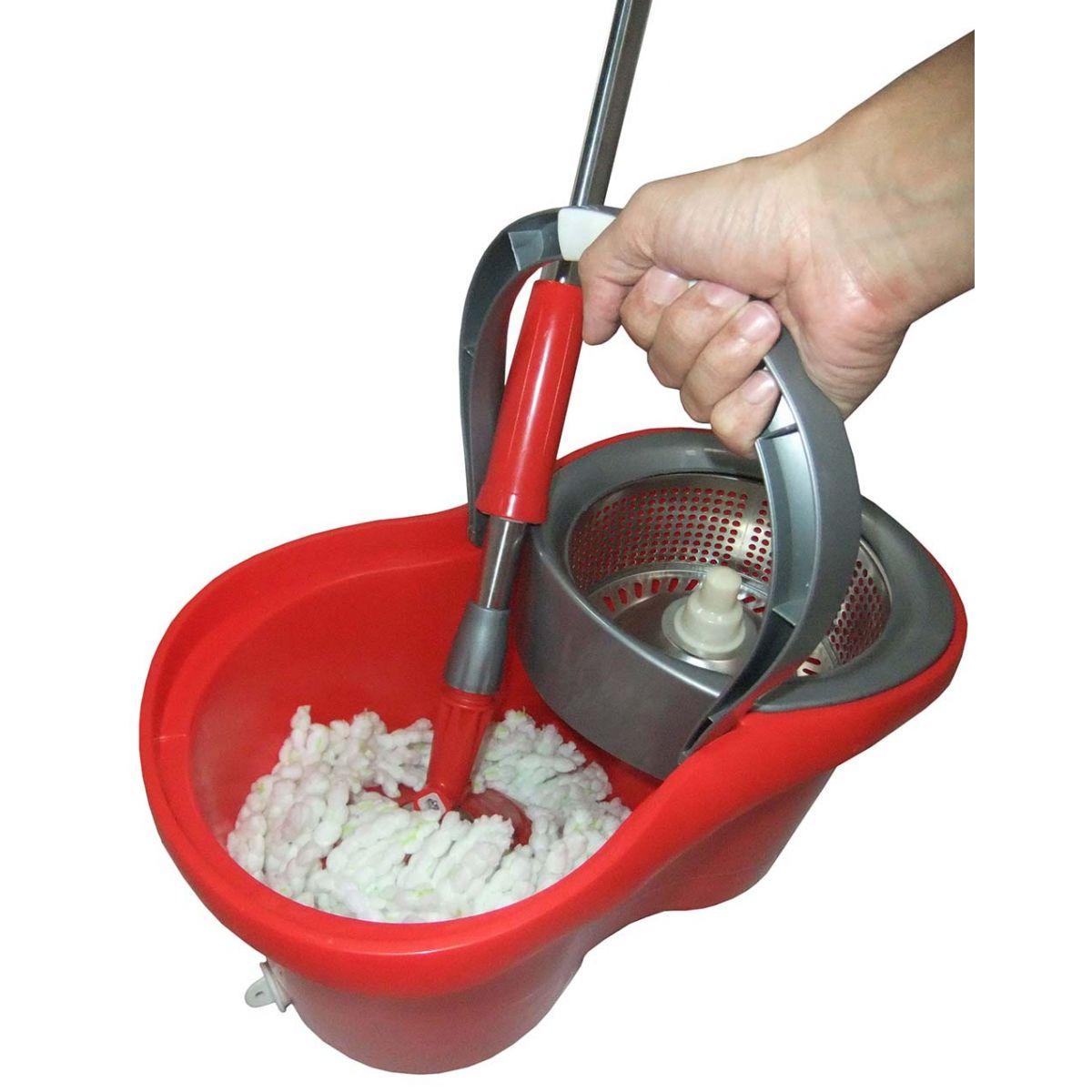 Balde Inox Casa Esfregao De Limpeza Mop Centrifuga Com Rodas Vermelho e Cinza (bsl-mop-3)