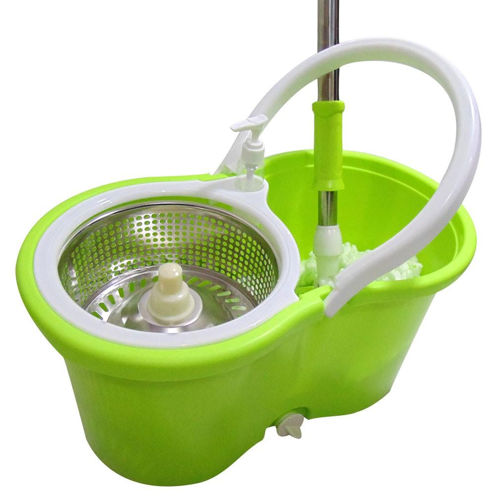 Balde Mop Esfregao Limpeza Inox Centrifuga Com Rodinhas + 1 Refil E 1 Dispenser Sabao (clb-03001 / mop-5)