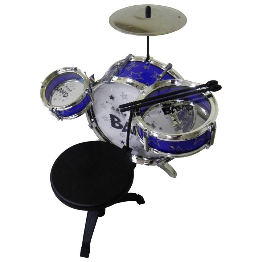 Bateria Infantil Musical Tambor Baquetas Pedal Banco Azul