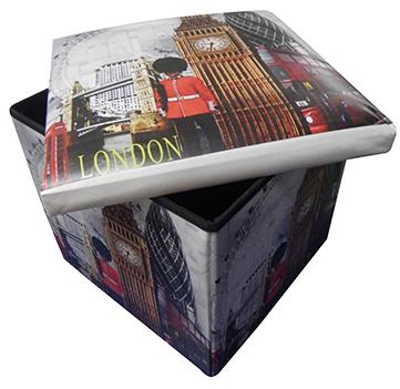 Bau Puff  Porta Treco Dobra Com Assento Vintage Retro London (PF-9)