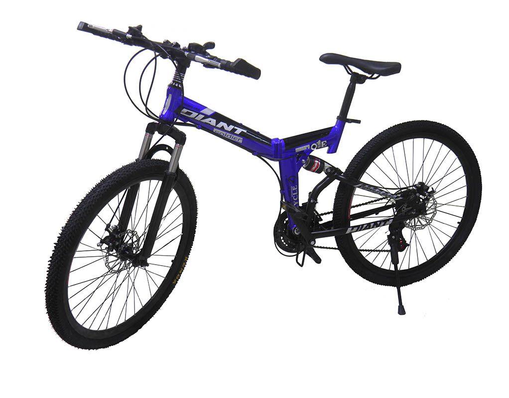 Bicicleta Dobravel 21 Marchas Aro 26 Freio Disco Azul Urbana
