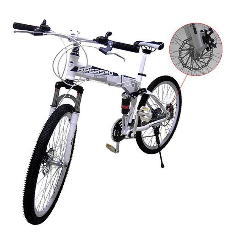 Bicicleta Dobravel 21 Marchas Shimano Aro 26 Freio Disco Amortecedor Bike Branca