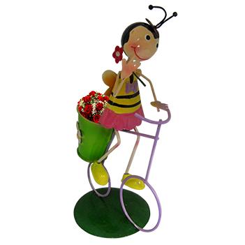 Boneca Abelha com Bicicleta Enfeite e Decoraçao Jardim Casa Flores (BON-M-15)