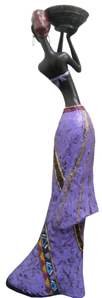 Boneca Africana Resina Mesa Enfeite Decoracao Mulher Negra Roxo Grande (8004/A)