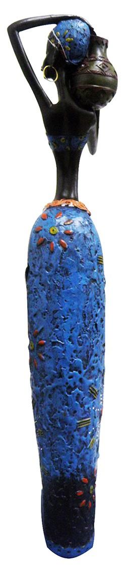 Boneca Africana Resina Mesa Sala Enfeite Decorativo Afro Mulher Negra Azul Grande (8004/B)