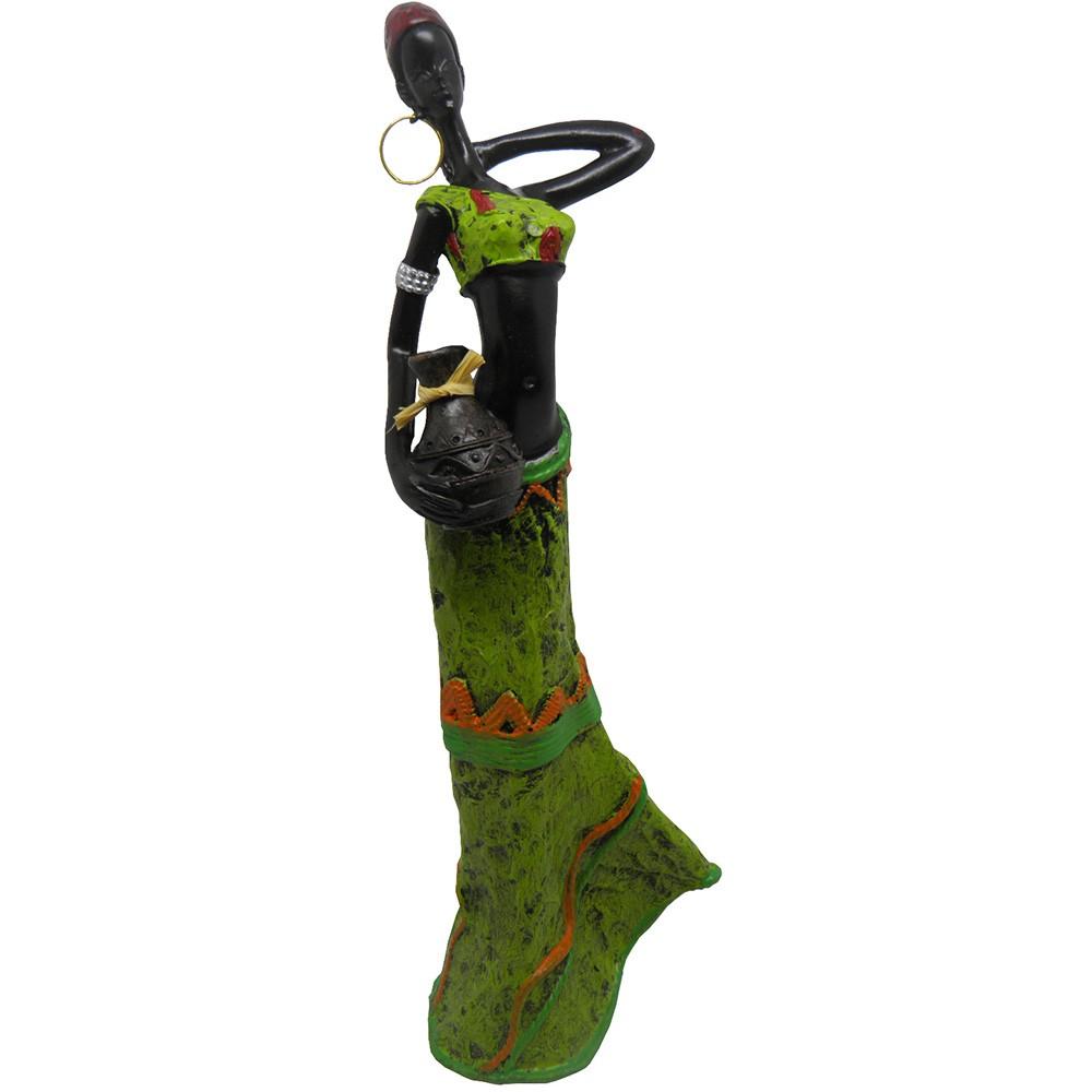 Boneca Africana Resinada Enfeite Sala Mesa Decoracao Vestido Verde (6819)