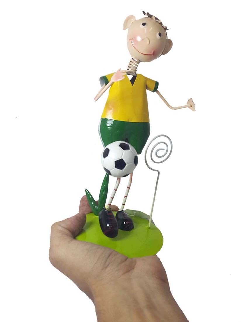 Boneco Enfeite de Mesa Estante Com Porta Recado Em Ferro Jogador Time Selecao Copa Futebol Brasil (bon-p-13)