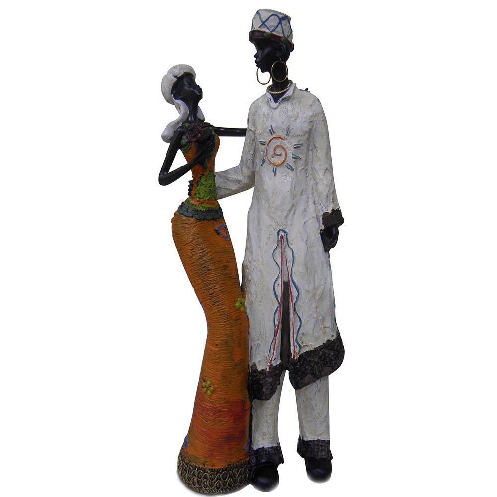 Bonecos Casal Africano Decorativa Decoracao de Resina Enfeite (8033)