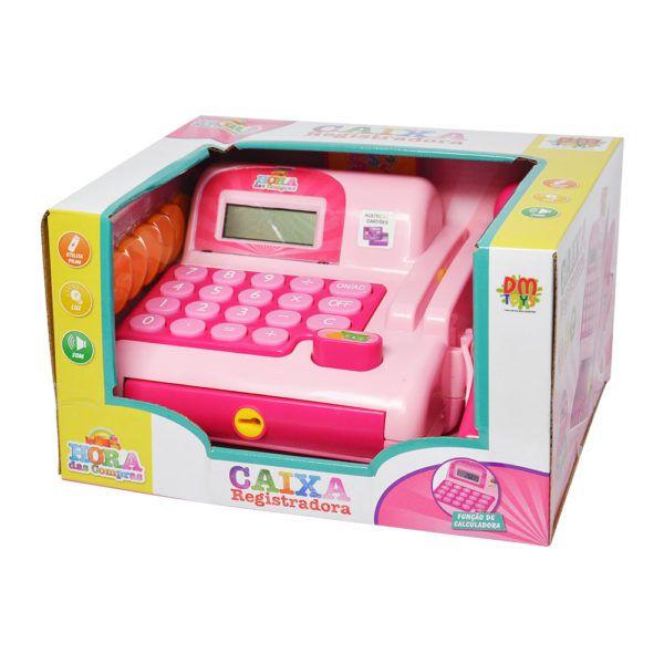 Caixa Registradora Infantil Calculadora Rosa Brinquedo (DMT5112)