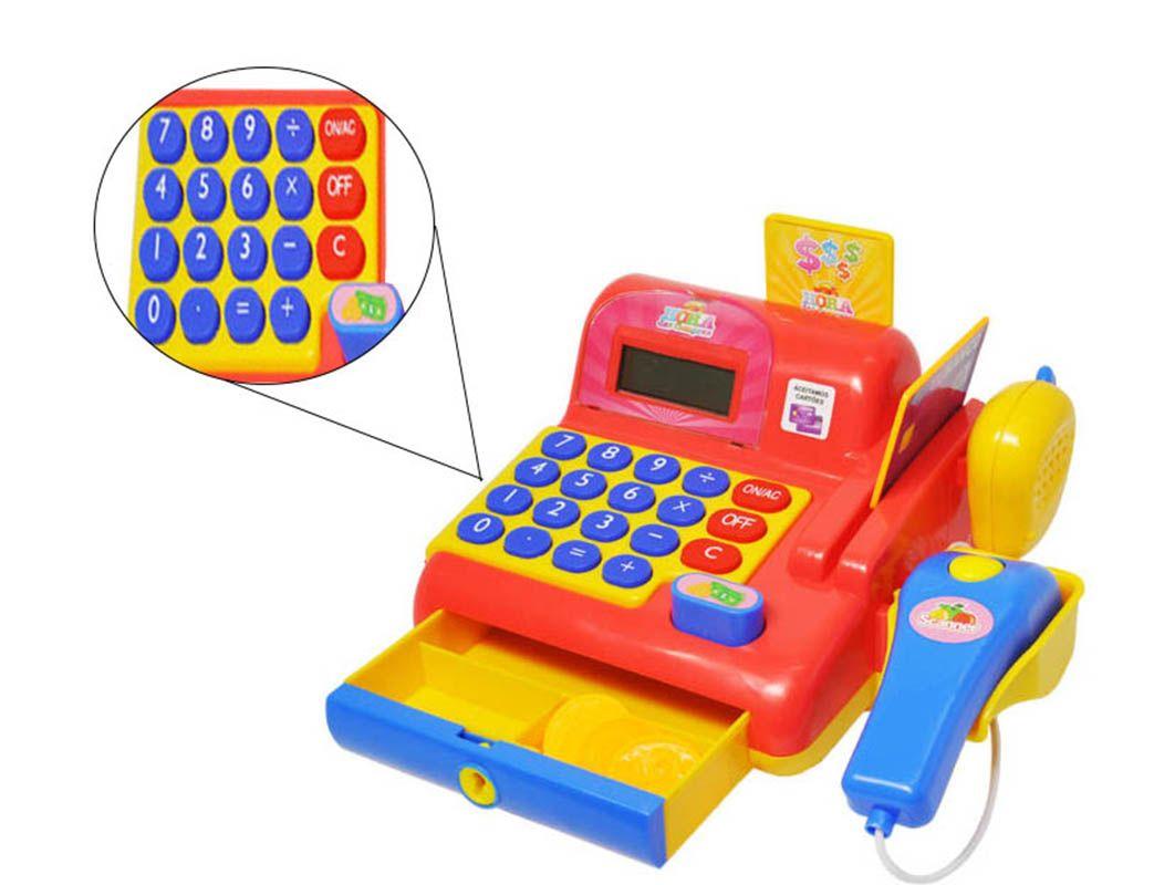 Caixa Registradora Infantil Calculadora Vermelho Som e Luzes (DMT5112)