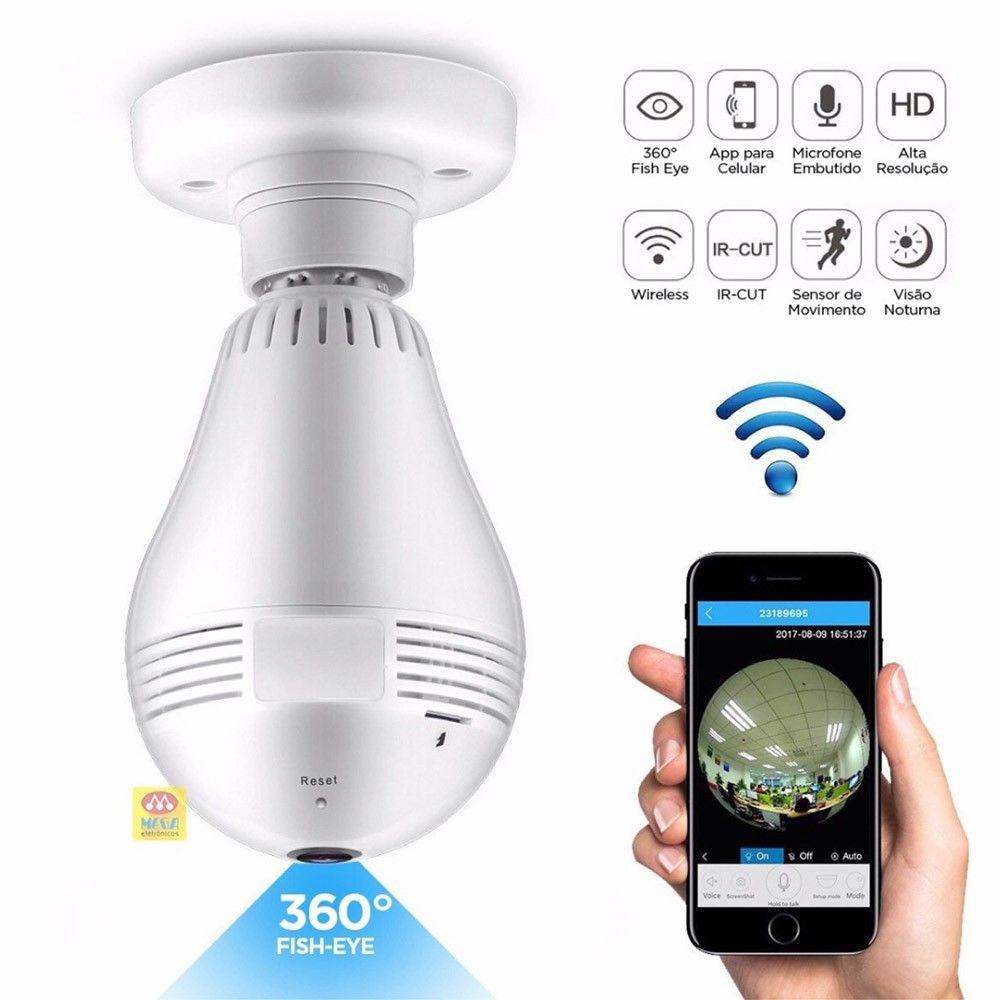 Camera Lampada Espia Panoramica Com Alta Definicao 360 Wifi Seguraca Ip Vr V380