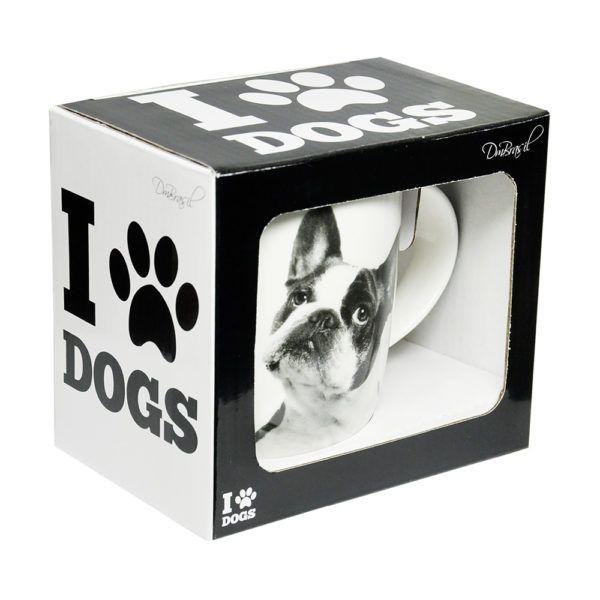 Caneca Copo Porcelana Pet I Love Dogs Buldogue 320ml Cachorro