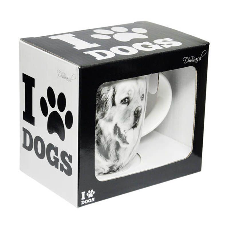 Caneca Copo Porcelana Pet I Love Dogs Golden Retriever 320ml Cachorro