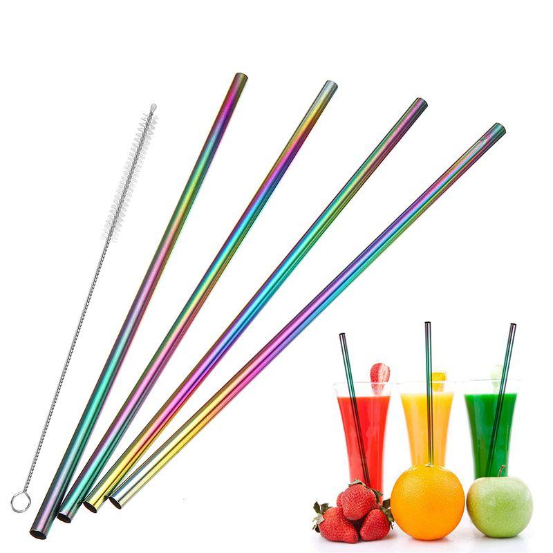 Canudo Aço Inox Reutilizavel Multicolorido Eco Limpador Kit com 4 Reto