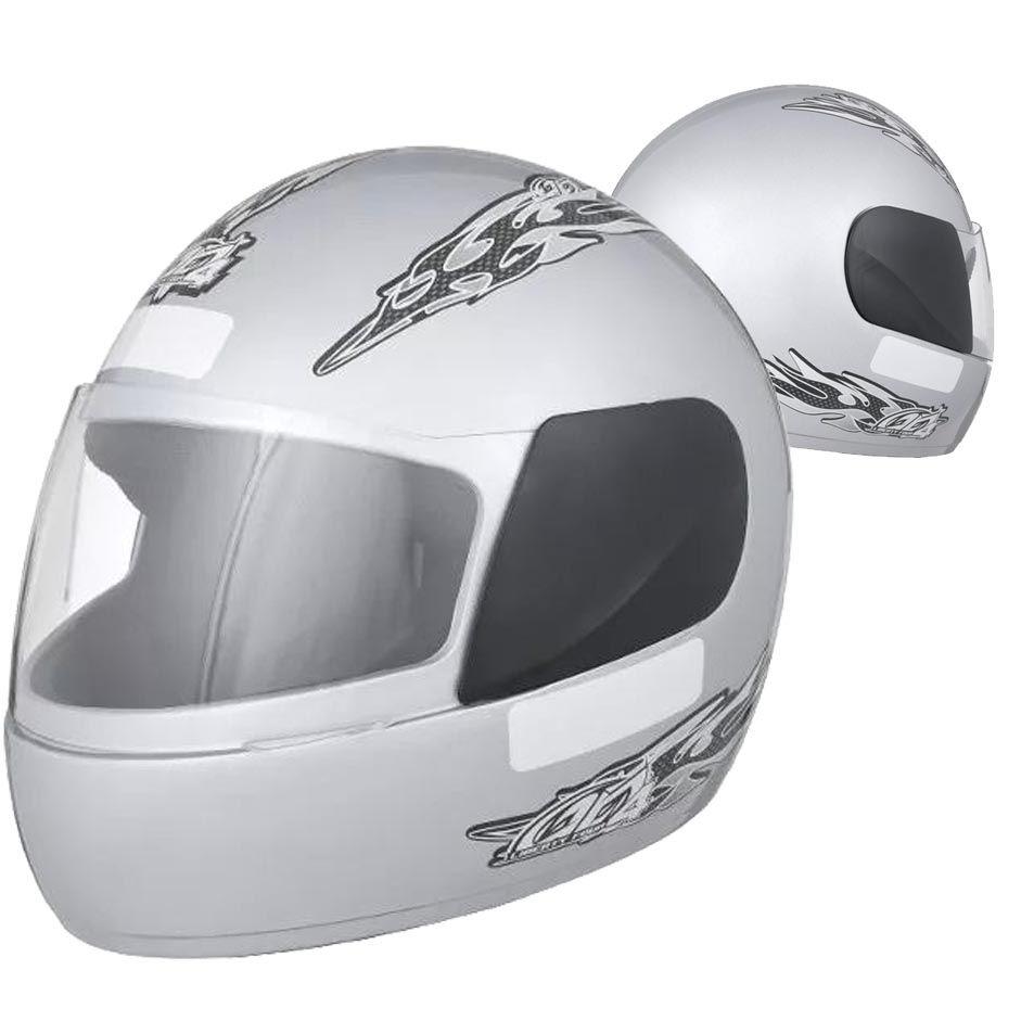 Capacete Fechado Moto Prata Pro Tork Motoqueiro Acessorios Motocicleta (Liberty Four)