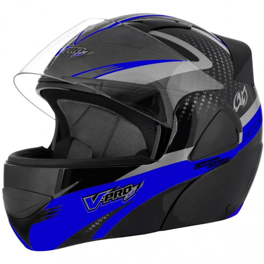 Capacete Moto Escamotiavel VPro Jet 2 Carbon Preto Acessorios Motocicleta (VPRO JET 2)