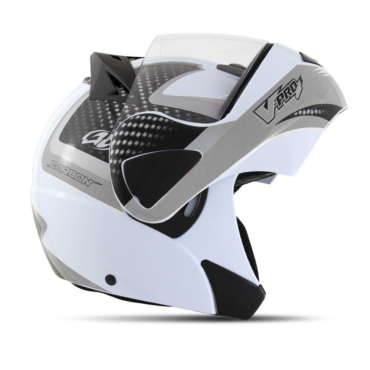 Capacete Moto VPro Jet 2 Escamotiavel Carbon Branco Motocicleta Acessorios (VPRO JET2)
