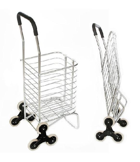Carrinho Dobravel De Aluminio 6 Rodas Sobe Escada Compras