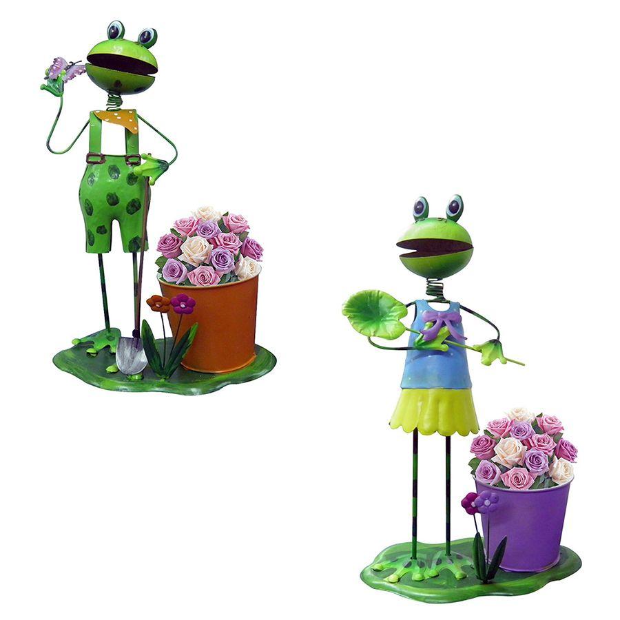 Casal Boneco Ferro Sapo Enfeite Jardim Flores Decoração Casa (BON-M-12)