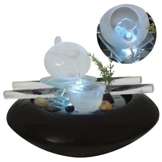 Cascata Fonte De Agua Enfeite Decorativo Ceramica Vidro Luz Led Jardim Cor Preta (ft-c)**