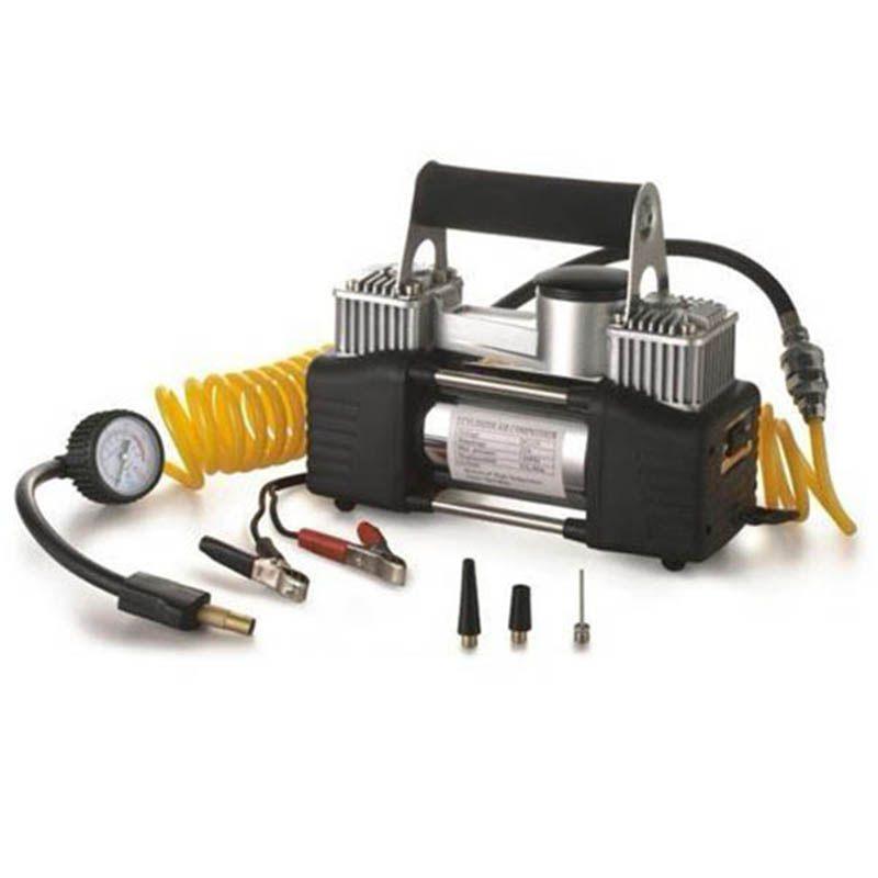 Compressor Ar Portatil Prata Veicular 12v Calibrador Pneu Carro (comp-2)
