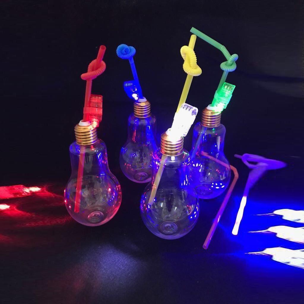 Copo Lampada Canudo Led Com 10 Unid Festa 350 ML