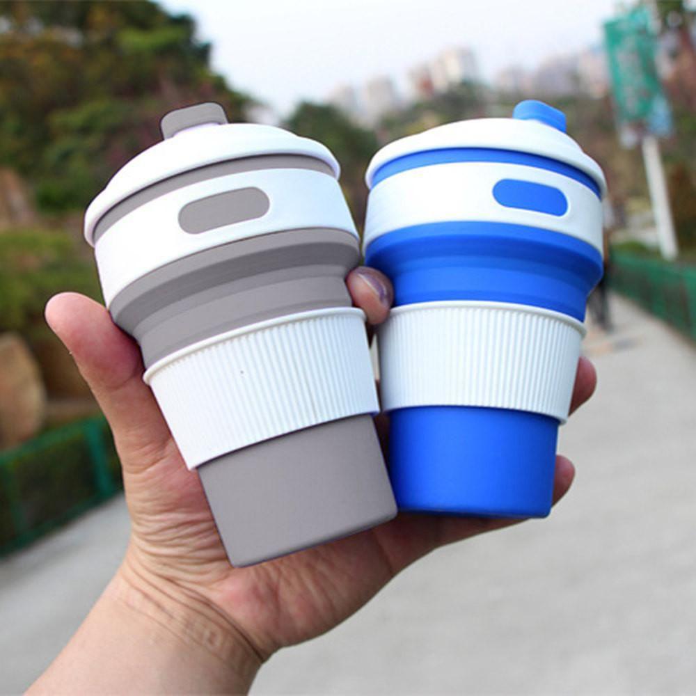 Copo Silicone Tampa Retratil Dobravel Bebida Cafe Quente Gelada