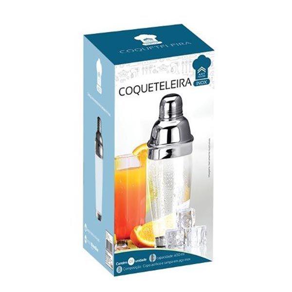 Coqueteleira Inox Copo Acrilico 400ML Caipirinha Bar Drink Bebida Festa