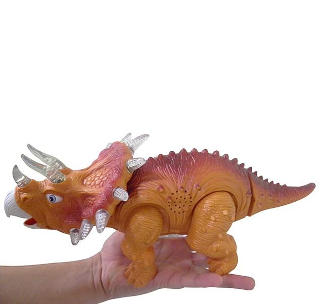 Dinossauro De Brinquedo Com Luzes E Som Para Crianças Triceratops Laranja (DMT4724)