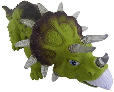 Dinossauro De Brinquedo Triceratops Com Som E Luzes Para Crianças Verde (DMT4724)