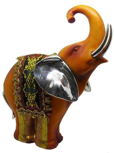 Elefante Indiano Estatueta Para Enfeite  Tromba Levantada Cor Laranja Avermelhado (5025)