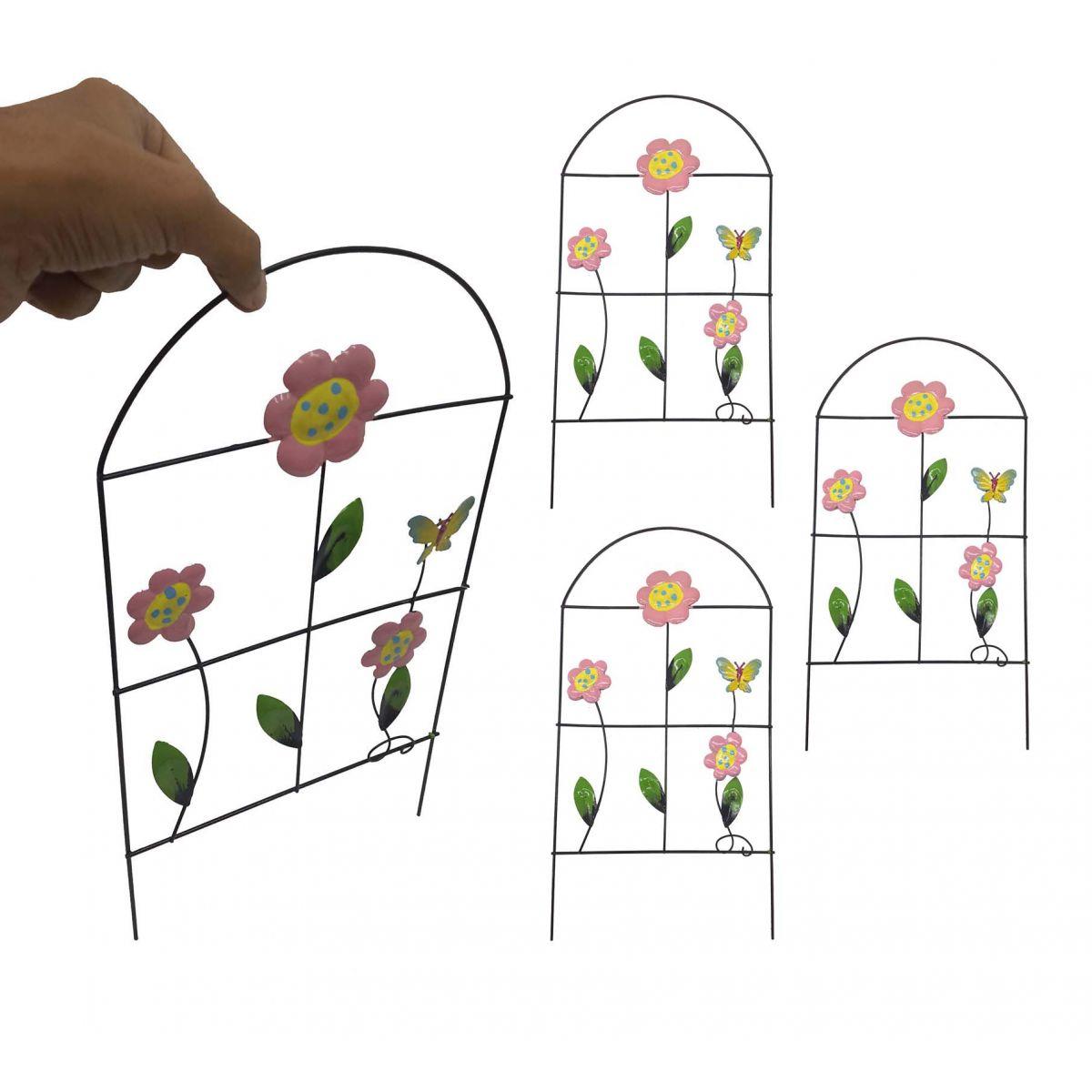 Enfeite Jardim de Ferro Grade Para Jardim Borboleta Casa Decoraçao Flor Rosa Com 4 (JARD-60)