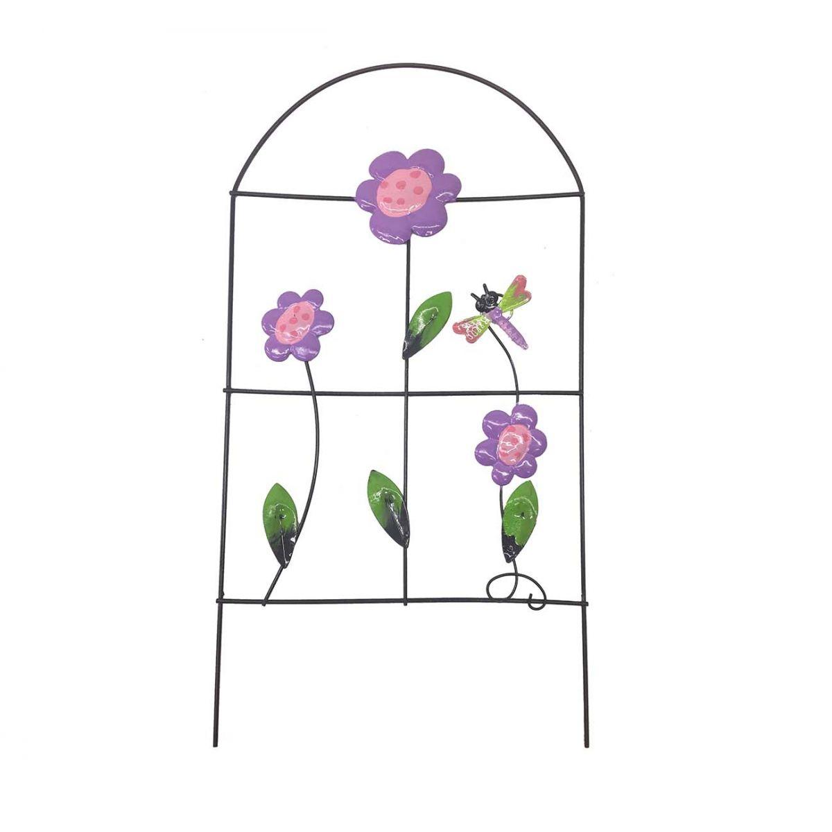 Enfeite Jardim de Ferro Grade Para Jardim Libelula Casa Decoraçao Flor Roxa Com 4 ( JARD-60)