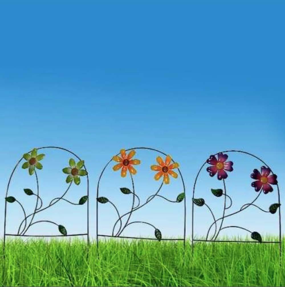 Enfeite Jardim Ferro Grade Casa Varanda Decora Planta Flor Amarela Com 3 (JARD-65)