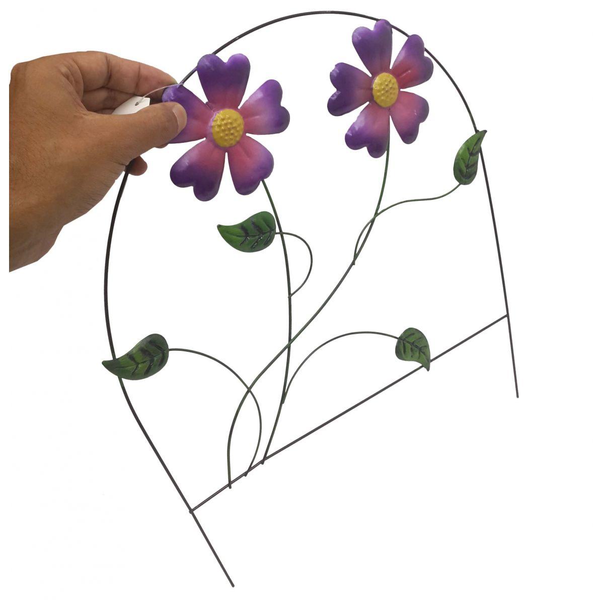 Enfeite Jardim Ferro Grade Casa Varanda Decora Planta Flor Roxa Com 3 (JARD-65)