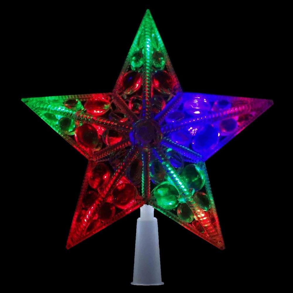 Estrela Pisca Pisca Colorida 10 Leds Ponteira Arvore de Natal Enfeite Natalino (JA-81121)