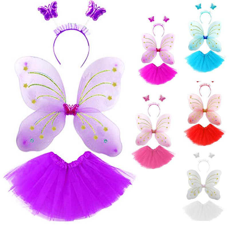Fantasia Borboleta Infantil Kit Saia Asa Arco Fada Carnaval Crianca Festa (MC41263)