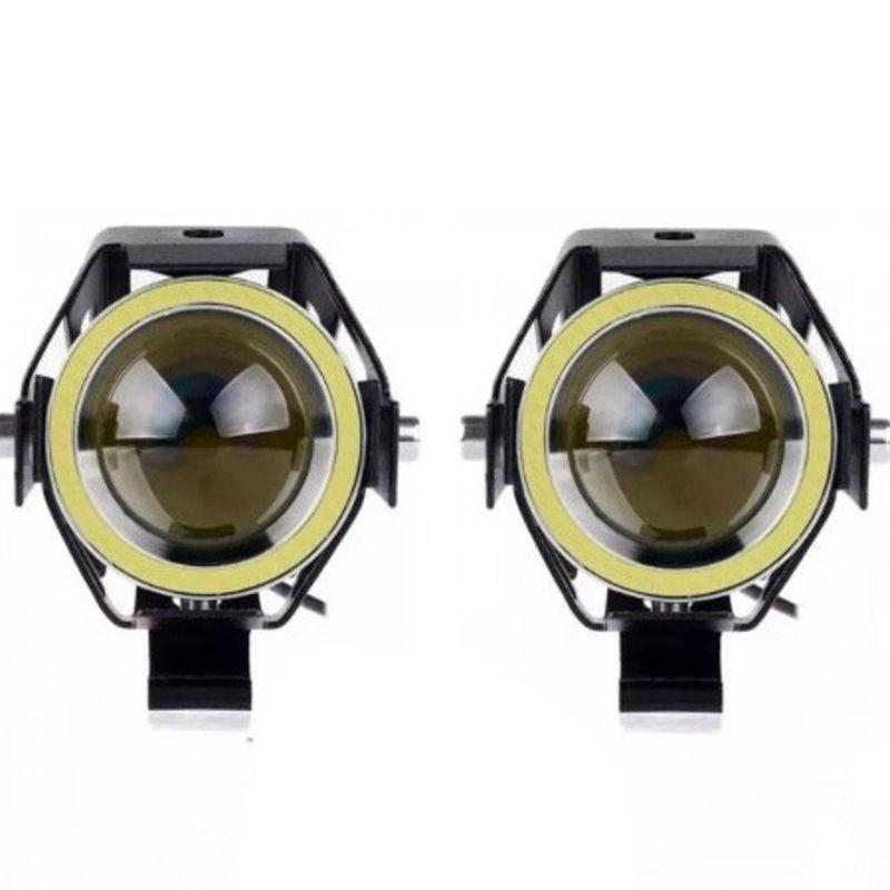 Farol de Milha Moto Angel Eyes Branco U7 Grande Luz Par Auxiliar Universal (BSL-U7)