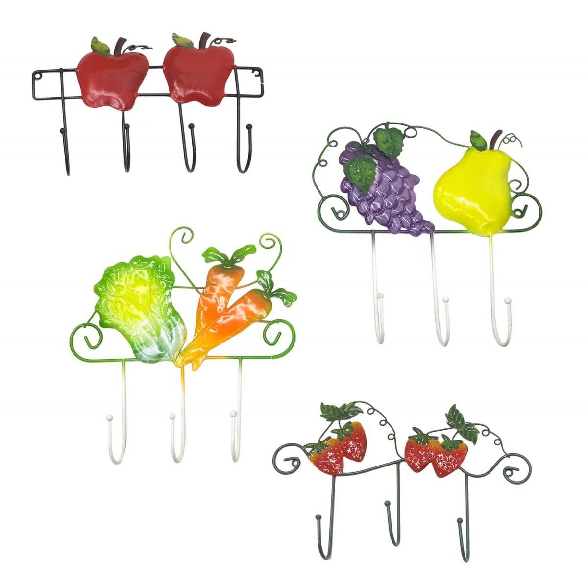 Gancho Ferro Chapeu Bolsa Bone Cozinha Jardim Enfeite Fruta Legume Pendura Kit Com 4 (pt-c-l)