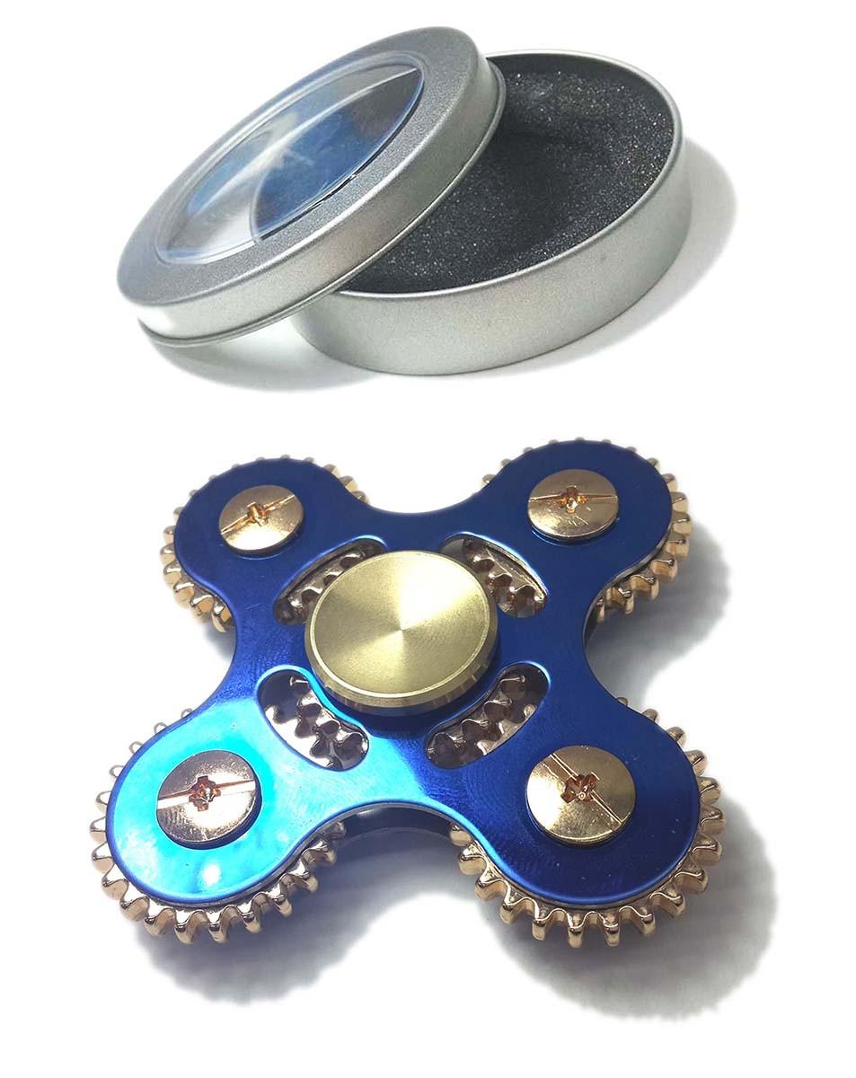 Hand Spinner Fidget De Metal Com Engrenagem Ansiedade Relax Brinquedo Cor Azul