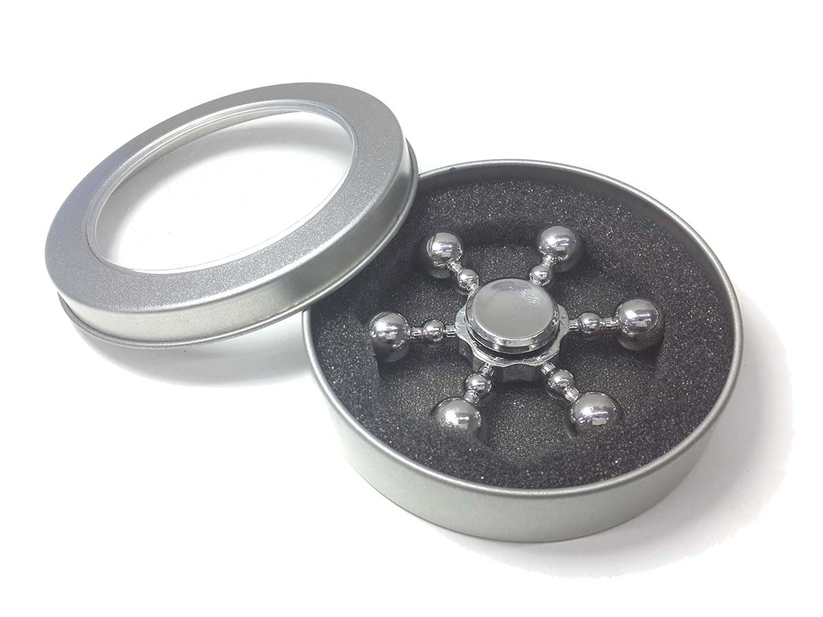 Hand Spinner Fidget De Metal Leme Prata Gira Ansiedade Anti Estresse (bsl-gira-10)