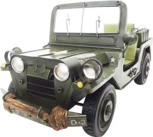 Jeep Vintage Retro Do Exercito Americano De Ferro Fundido Verde (CJ-005)