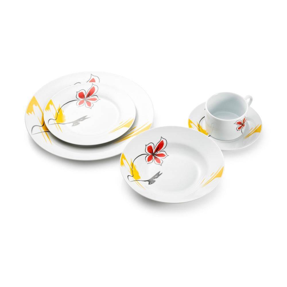 Jogo De Jantar 20 Pecas Pratos Aparelho Floral Xicara Porcelana Cozinha Pires