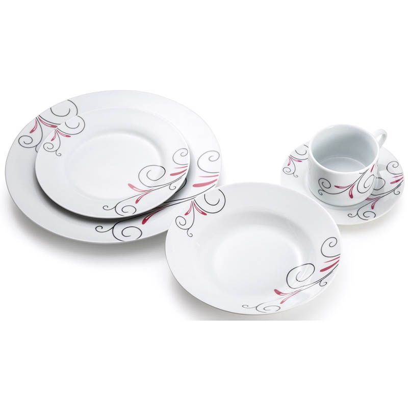 Jogo De Jantar Floral 20 Pecas Porcelana Xicara Pires Jantar Cozinha Pratos