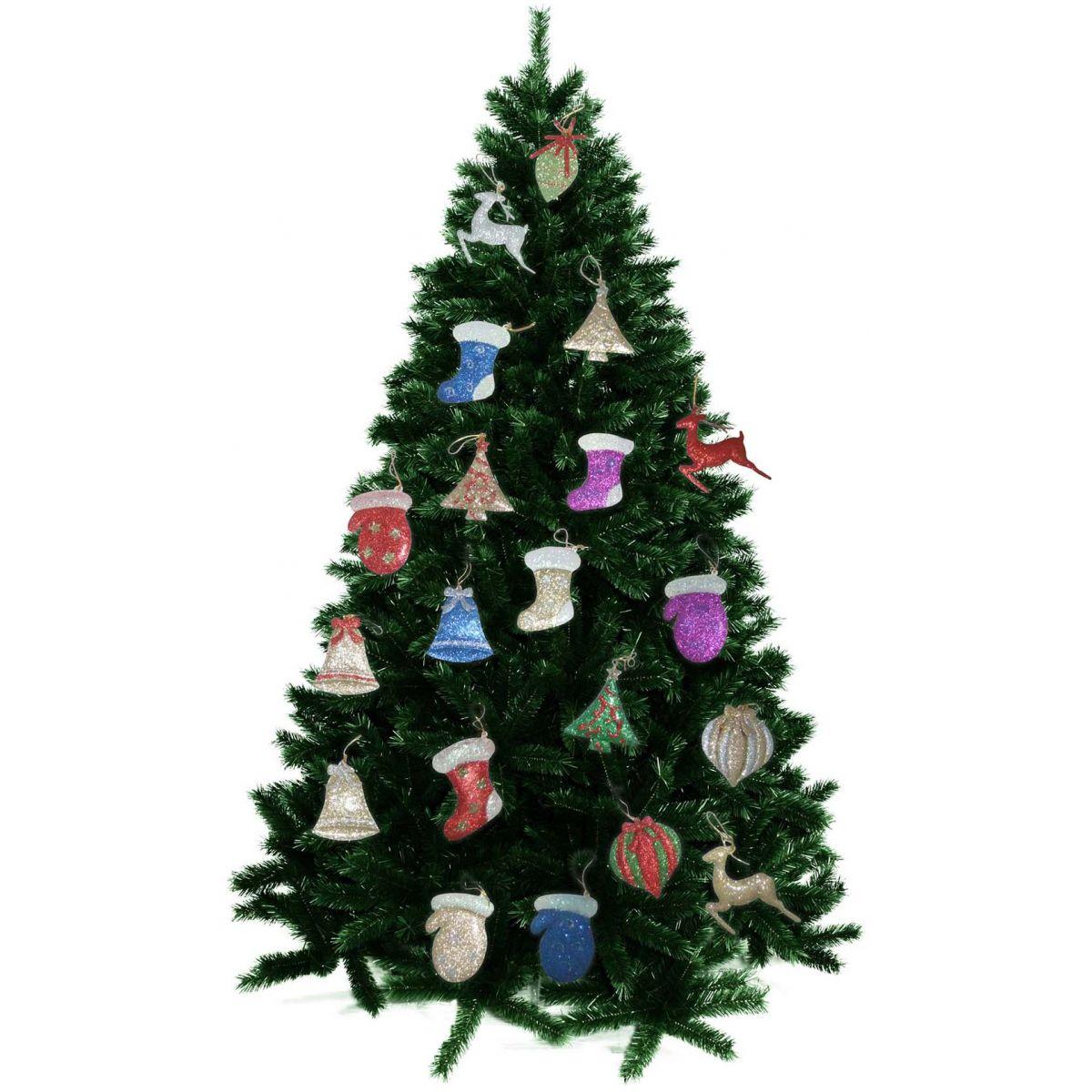 Kit Enfeites Natal Sortidos Coloridos Brilhantes Com Glitter 20 Unid
