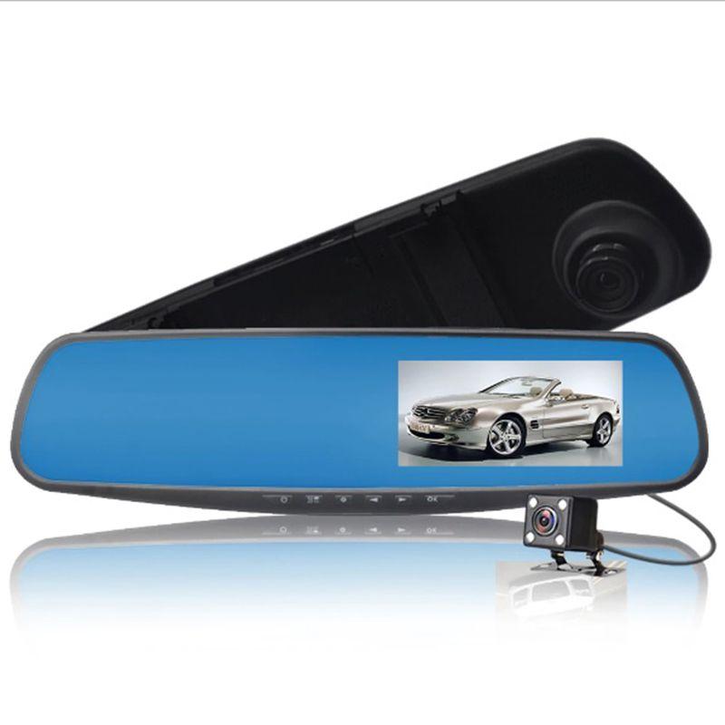 Espelho Retrovisor Estacionamento Carro Kit Camera Re Frontal Sensor Tela LCD